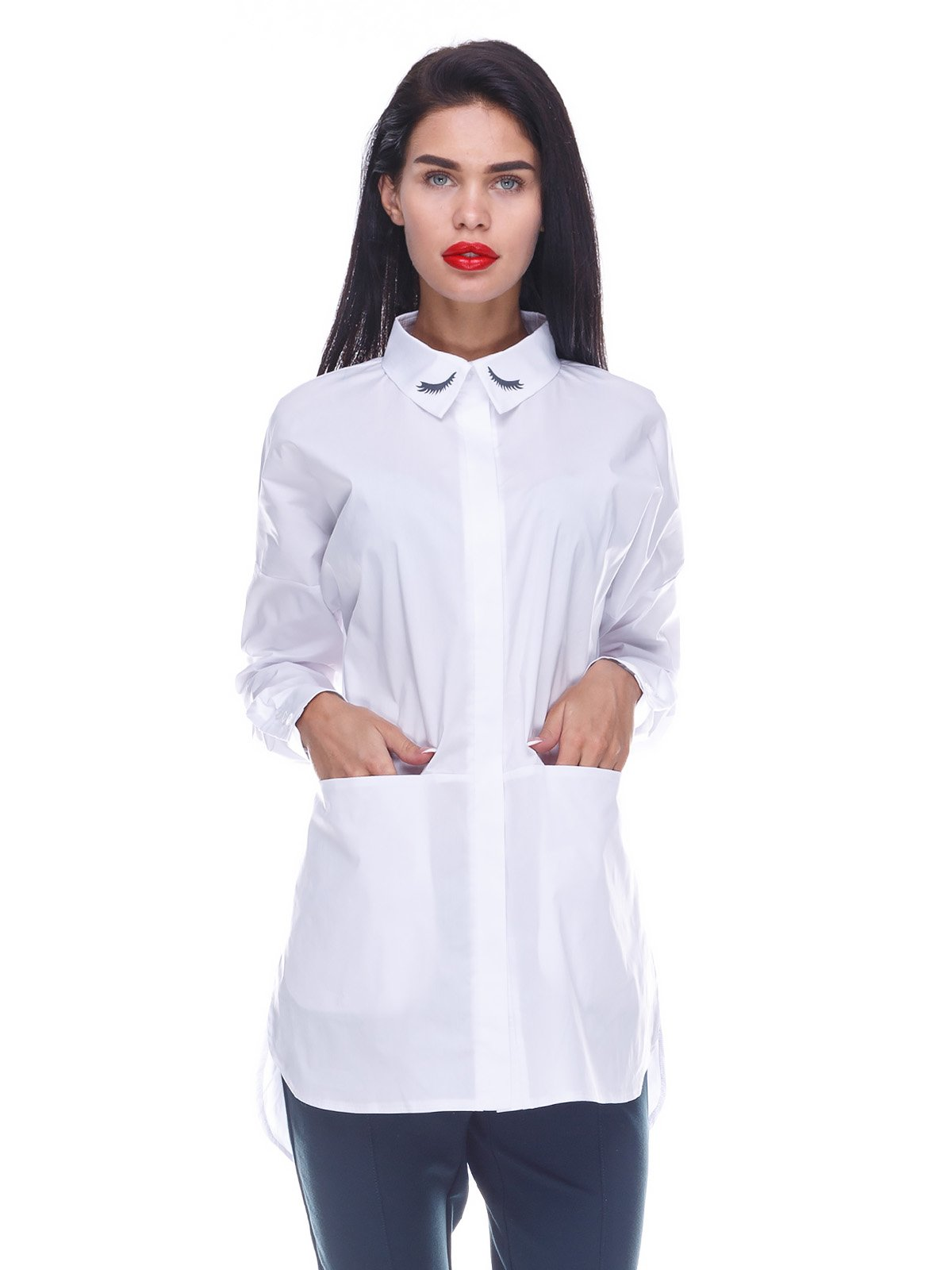 Рубашка белая с принтом | 3524523