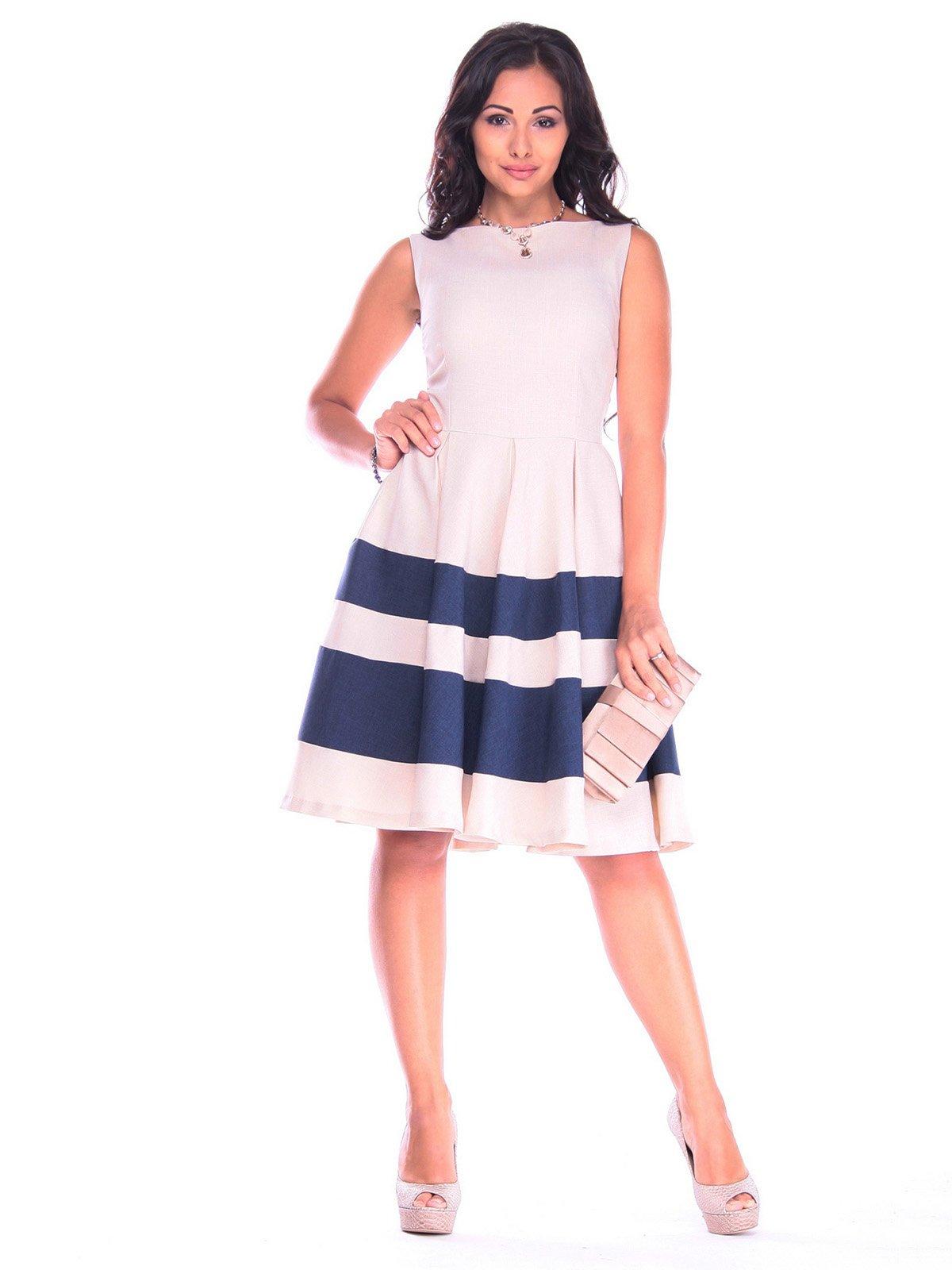 Сукня бежева з темно-синім | 3218504