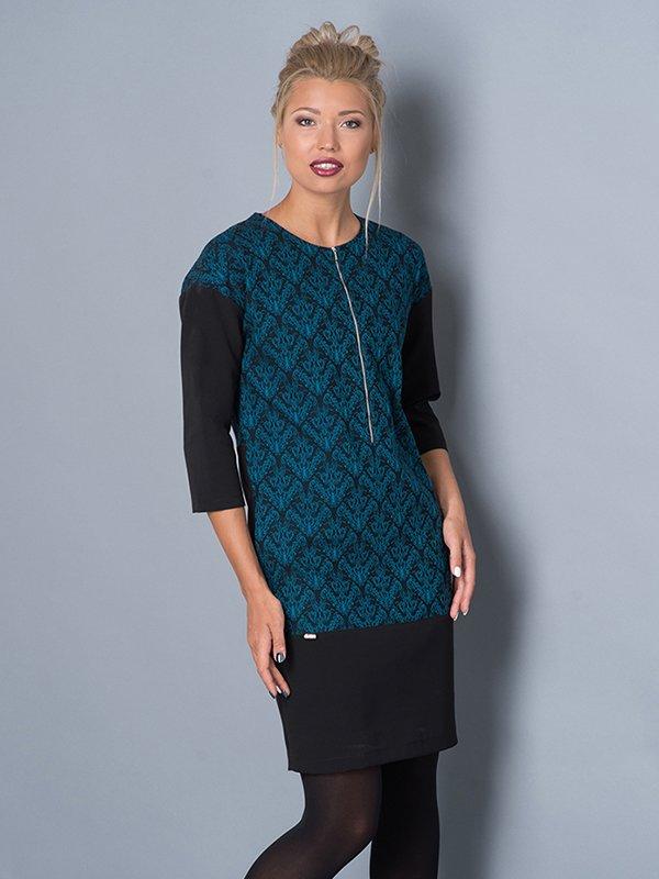Платье бирюзово-черное | 2871425