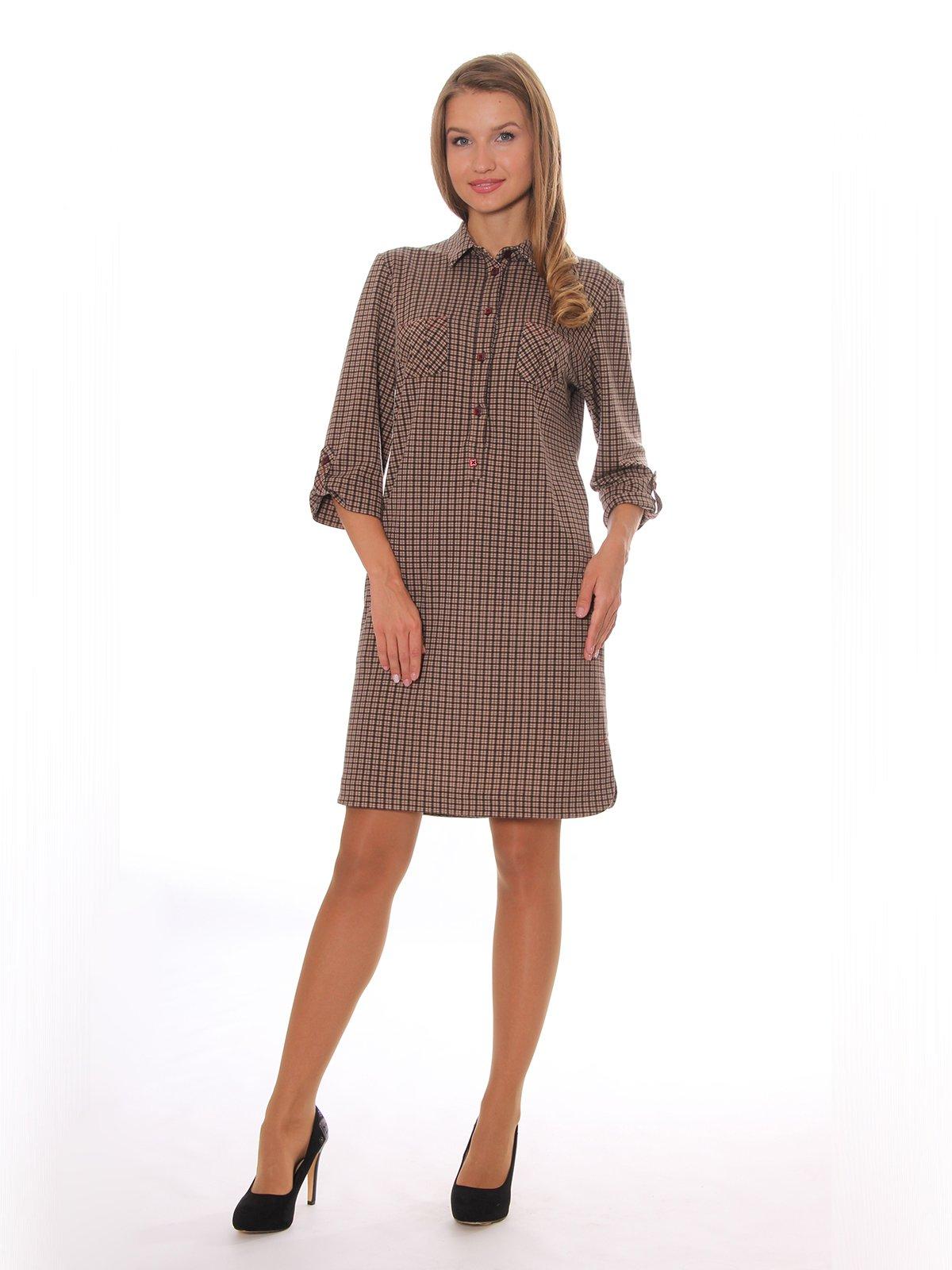 Платье цвета капучино в клетку   3554594