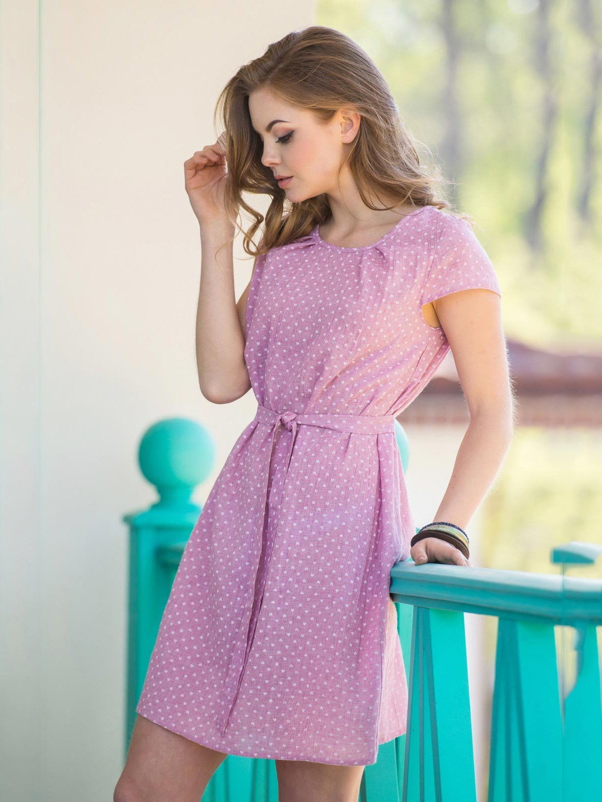 Платье розовое в горошек   3584309