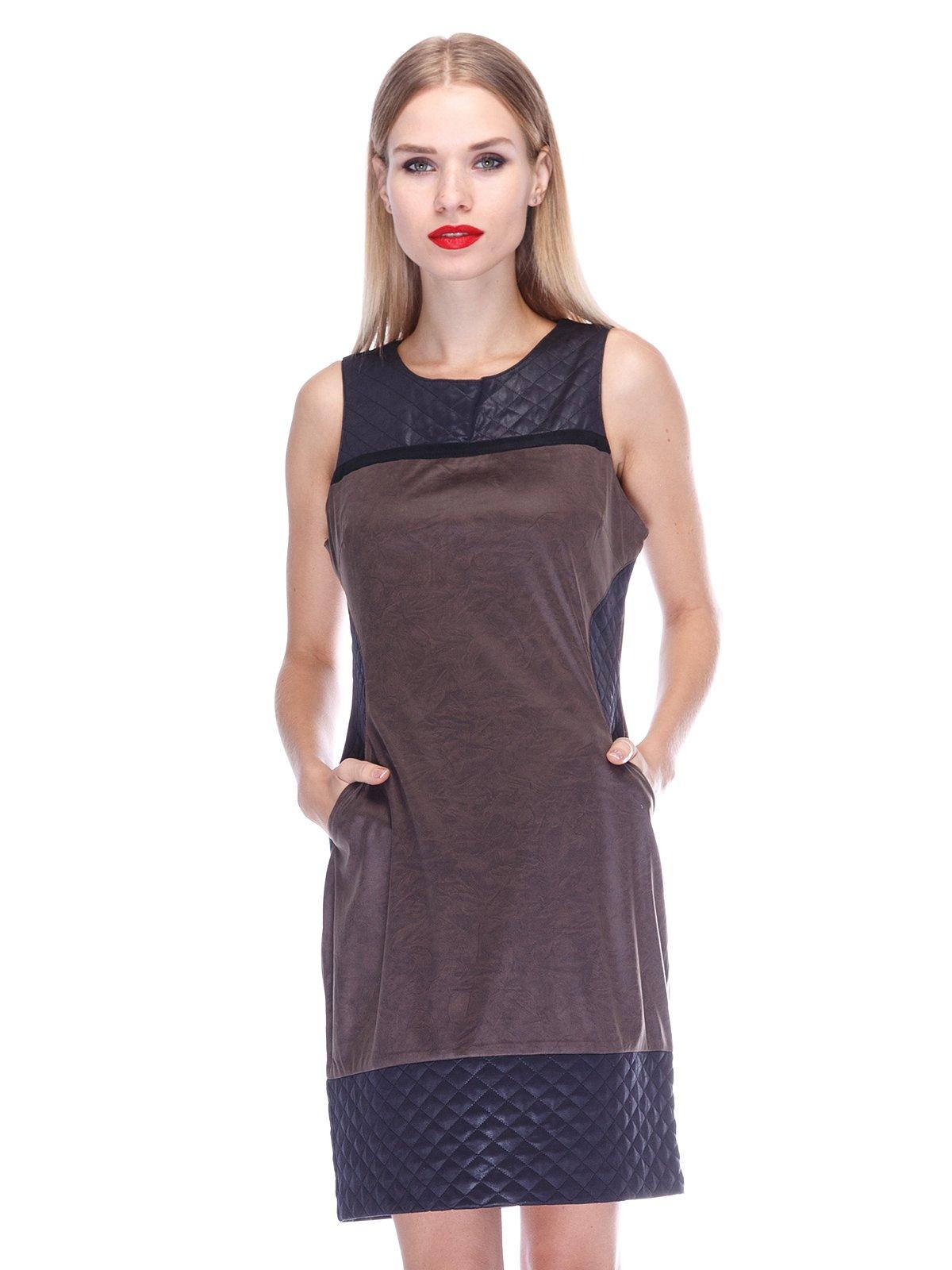 Платье коричневое с черными вставками | 2946783