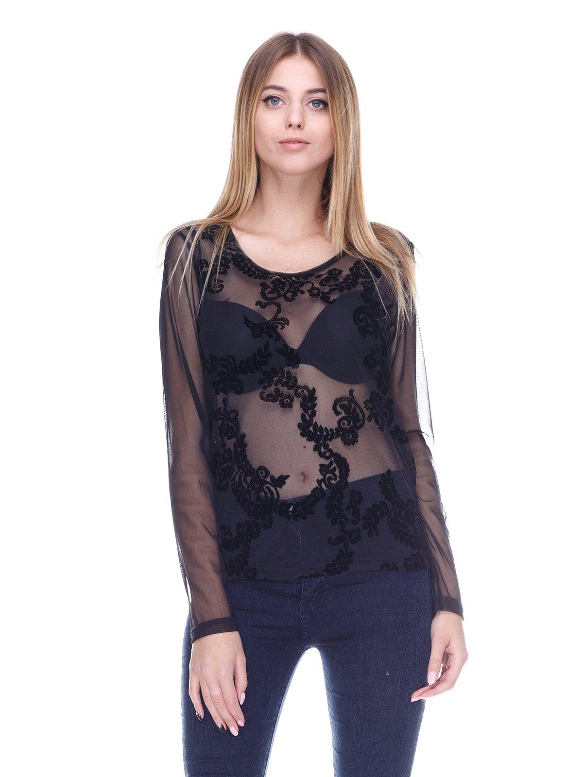 Блуза черная с рисунком | 2946689