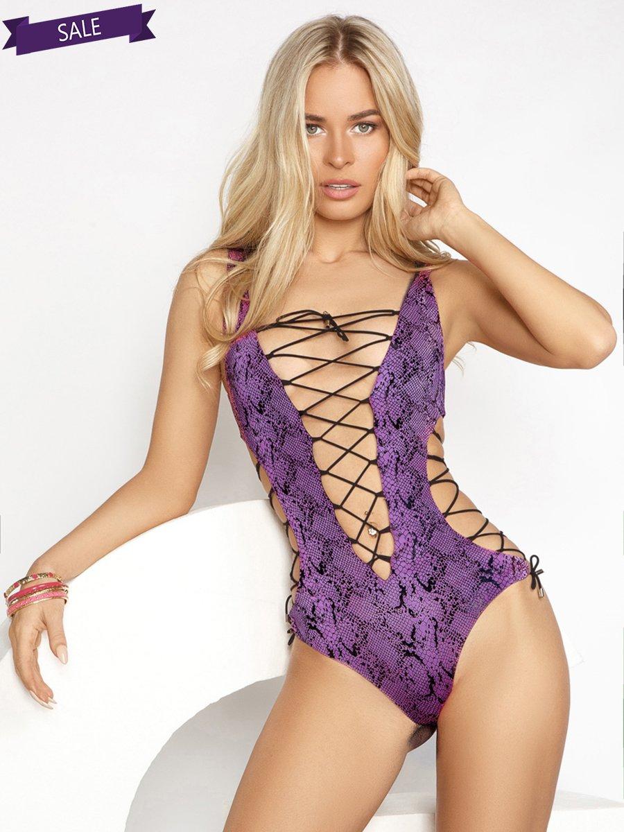 Купальник фиолетовый в анималистический принт | 3487926