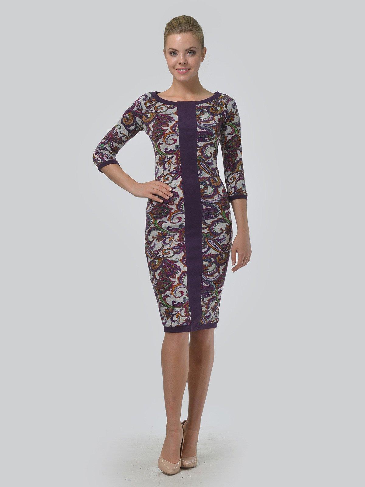 Платье фиолетовое с принтом | 3621768