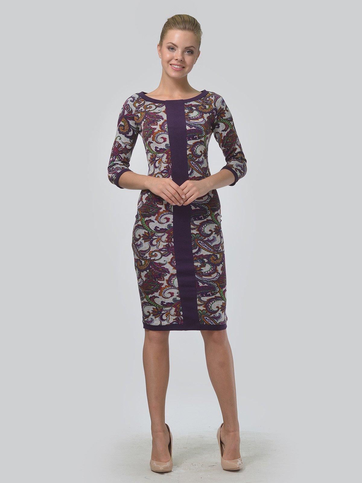 Платье фиолетовое с принтом | 3621768 | фото 2