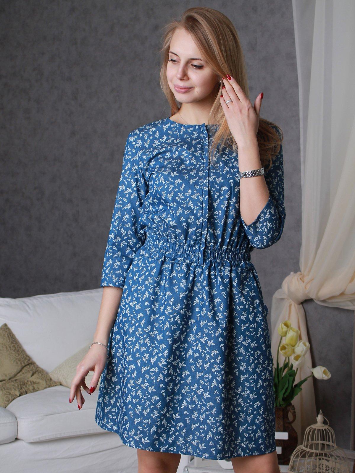 Платье синее в принт | 3633293
