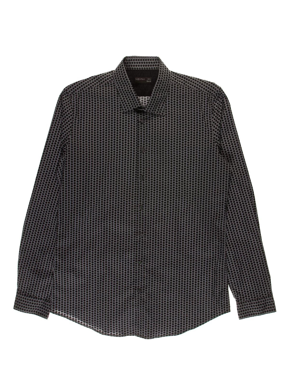 Рубашка серая в принт | 3548185