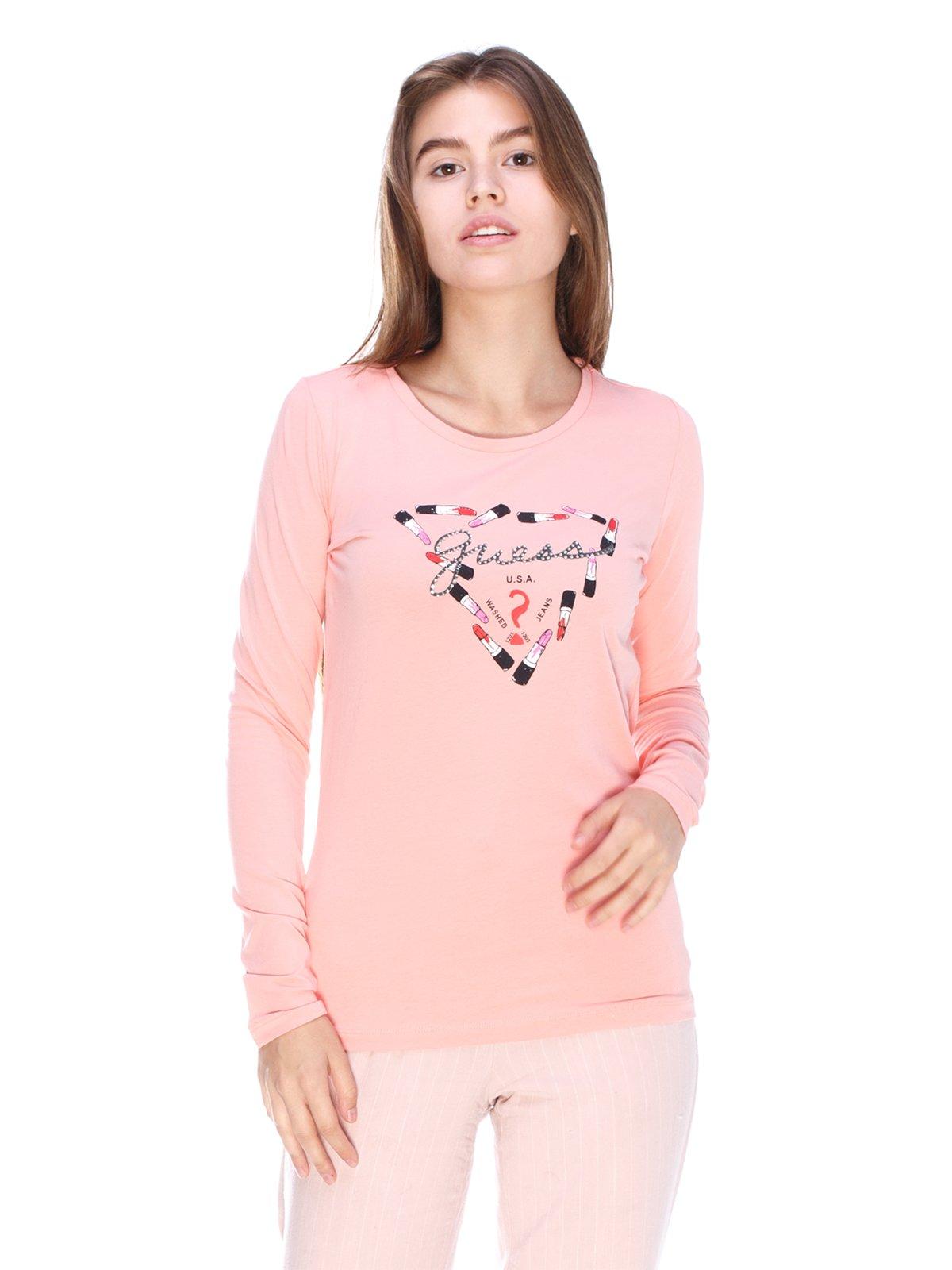 Лонгслів рожевий з принтом | 3623703