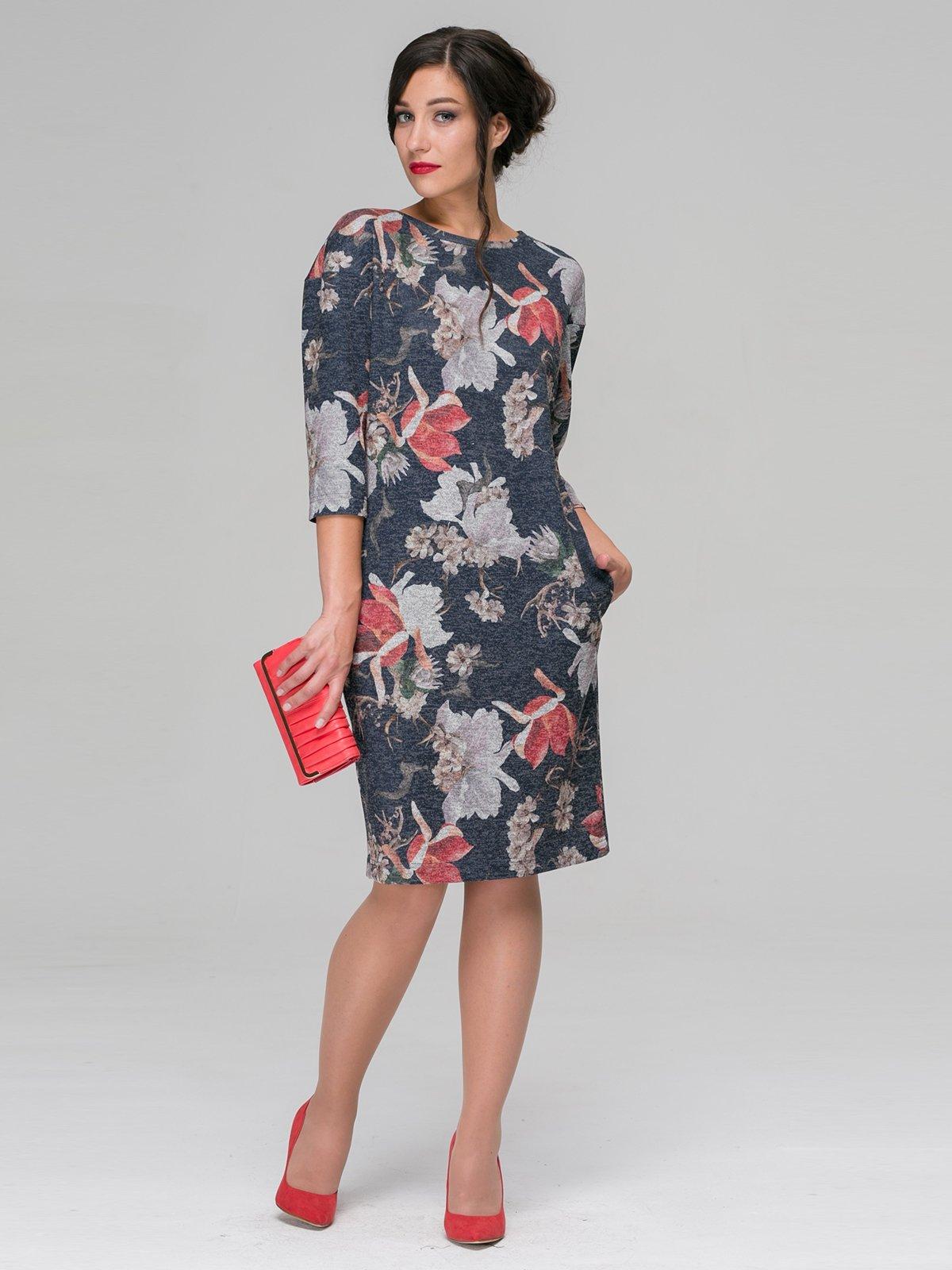 Сукня сіра в квітковий принт | 3649373