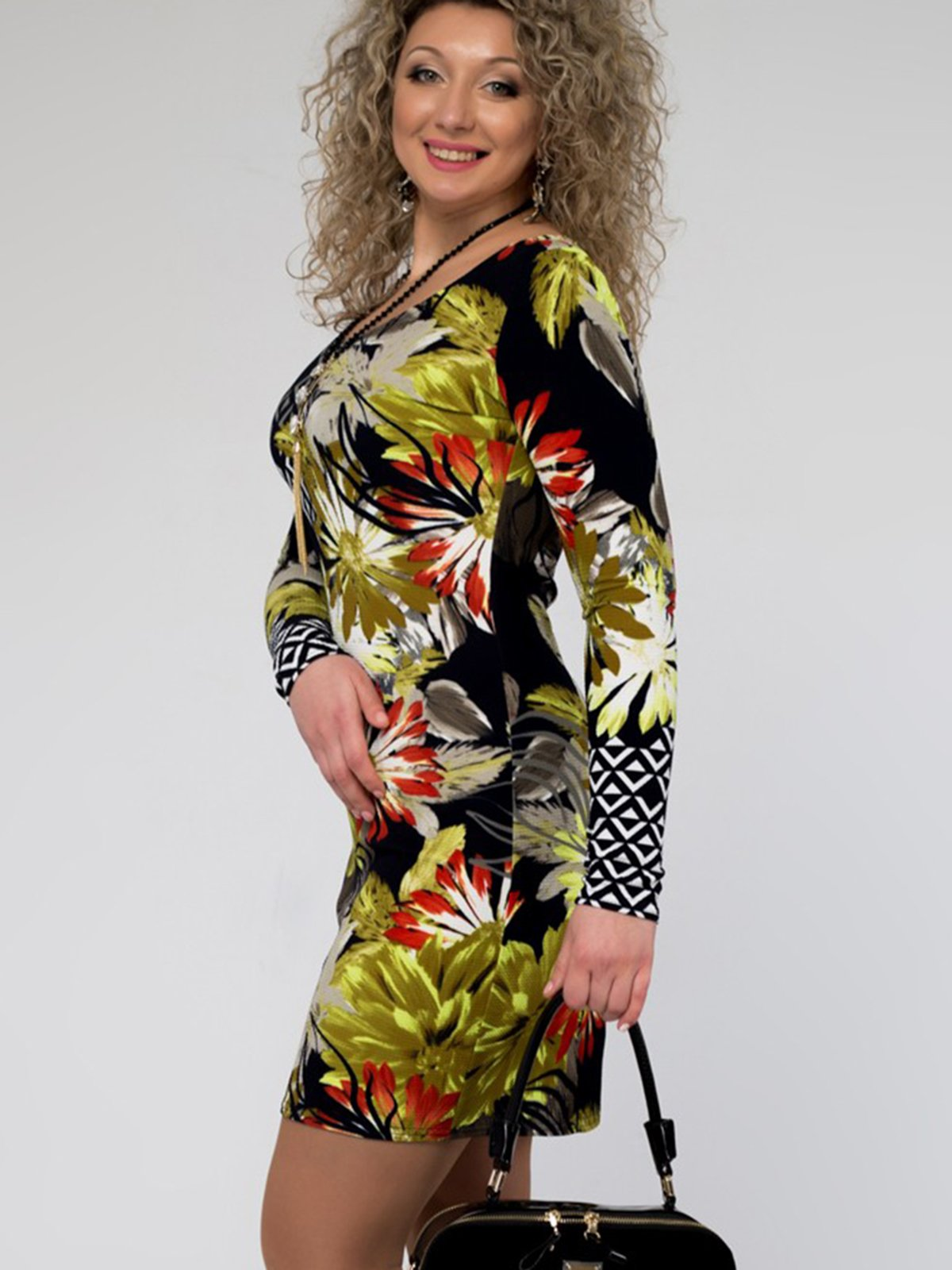 Сукня чорна в принт | 3546367 | фото 2