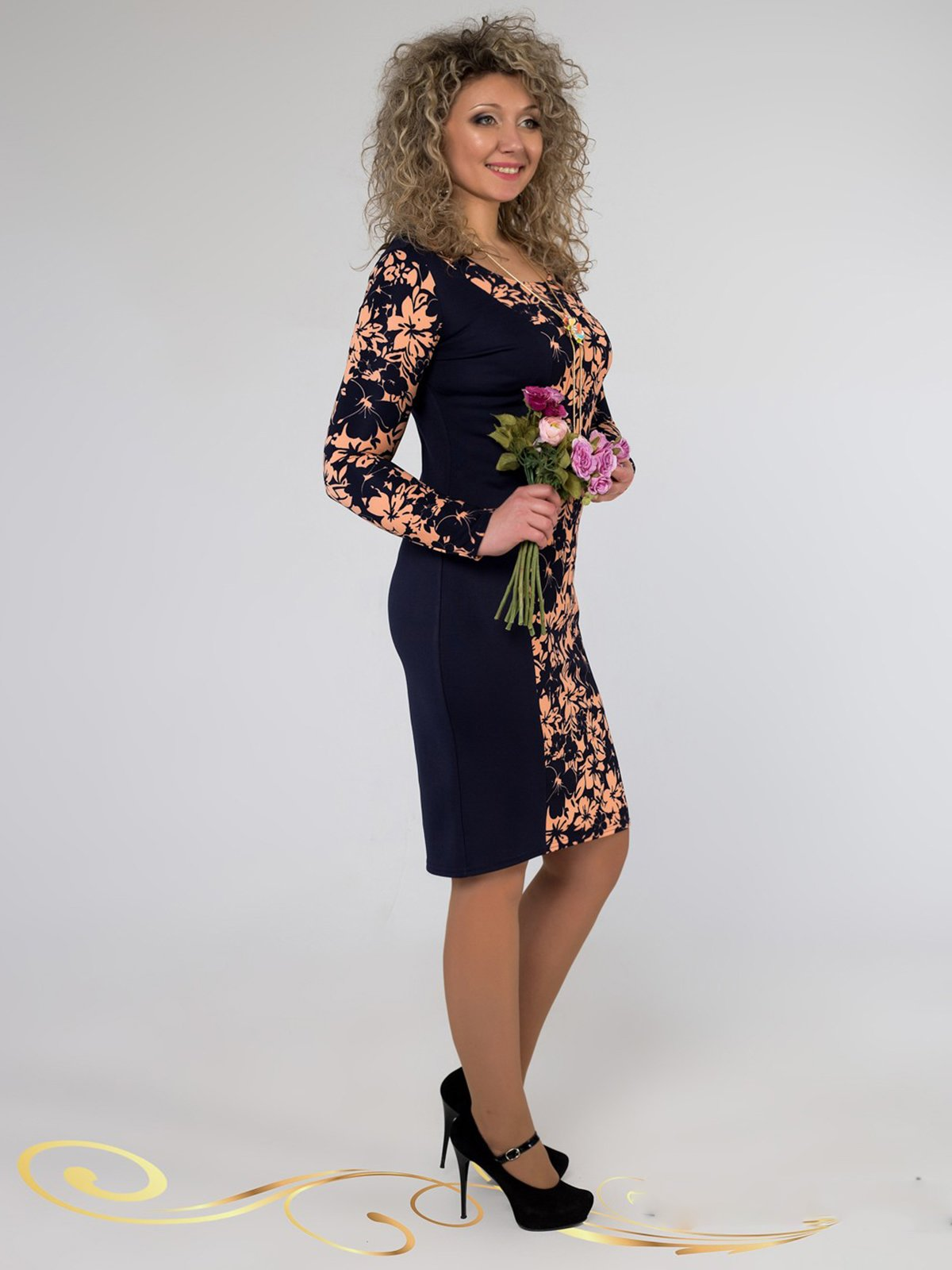 Сукня синя в принт | 3546371 | фото 2