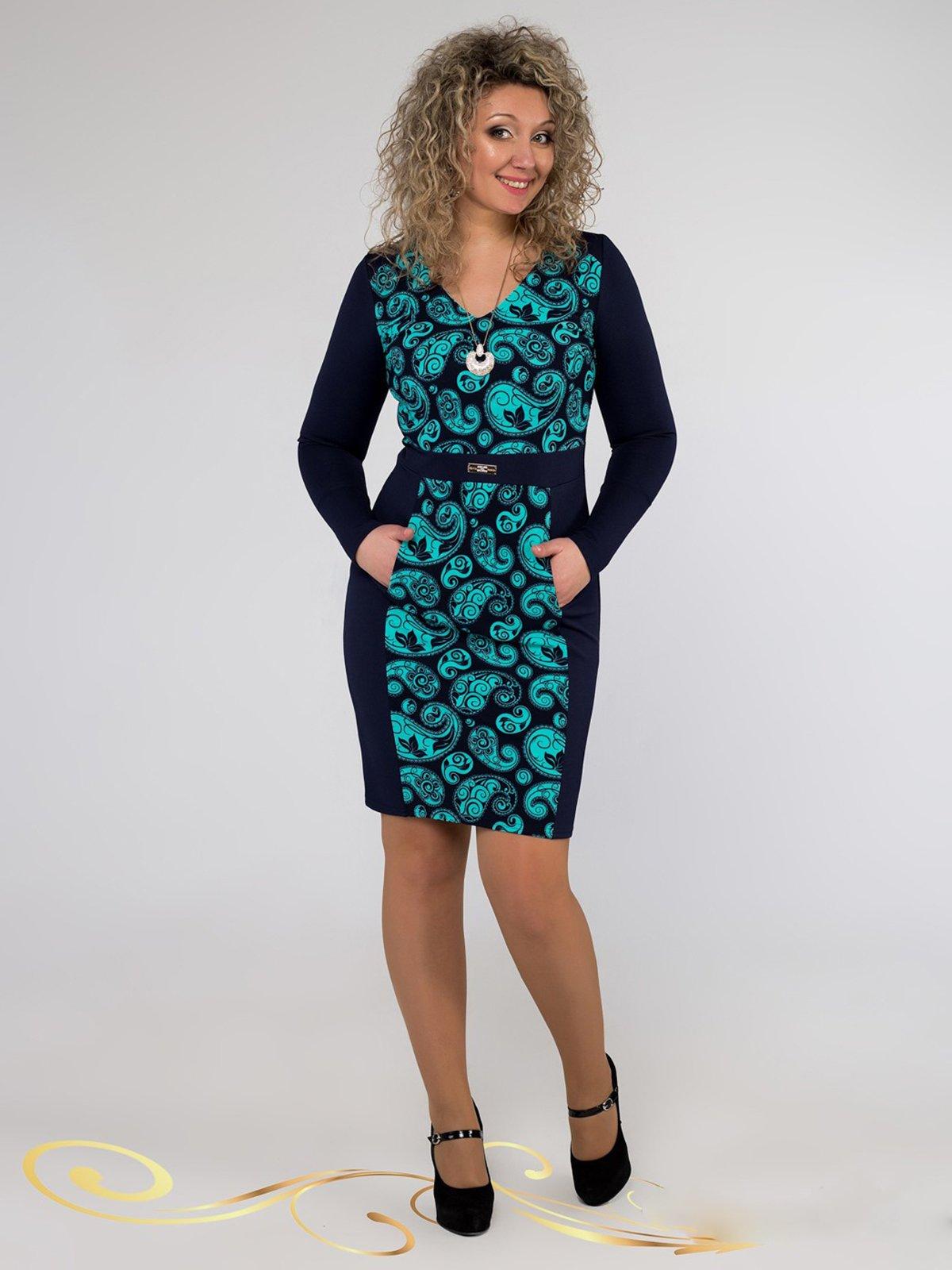 Платье синее в принт | 3546372