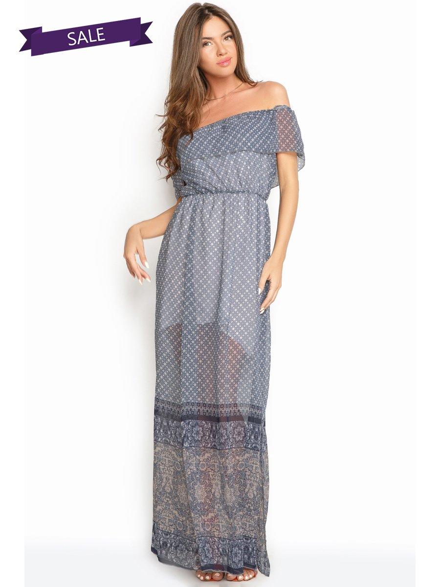 Платье синее в принт | 3452230