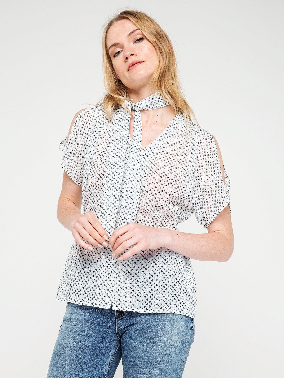Блуза біла в горох | 3646615