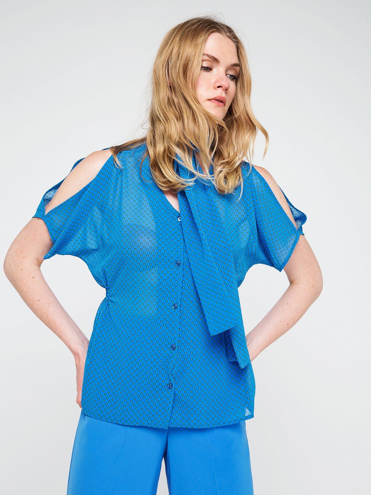 Блуза синя в горох | 3646616