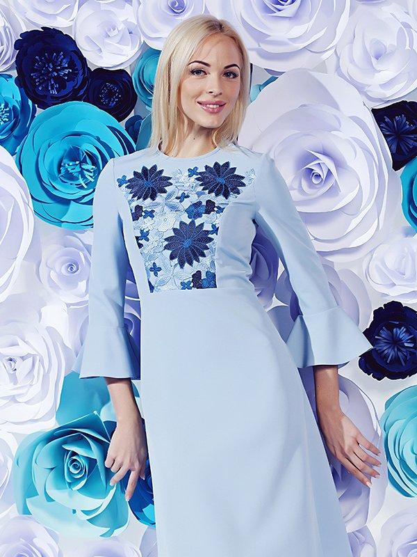 Платье голубое с цветочным принтом | 3168030
