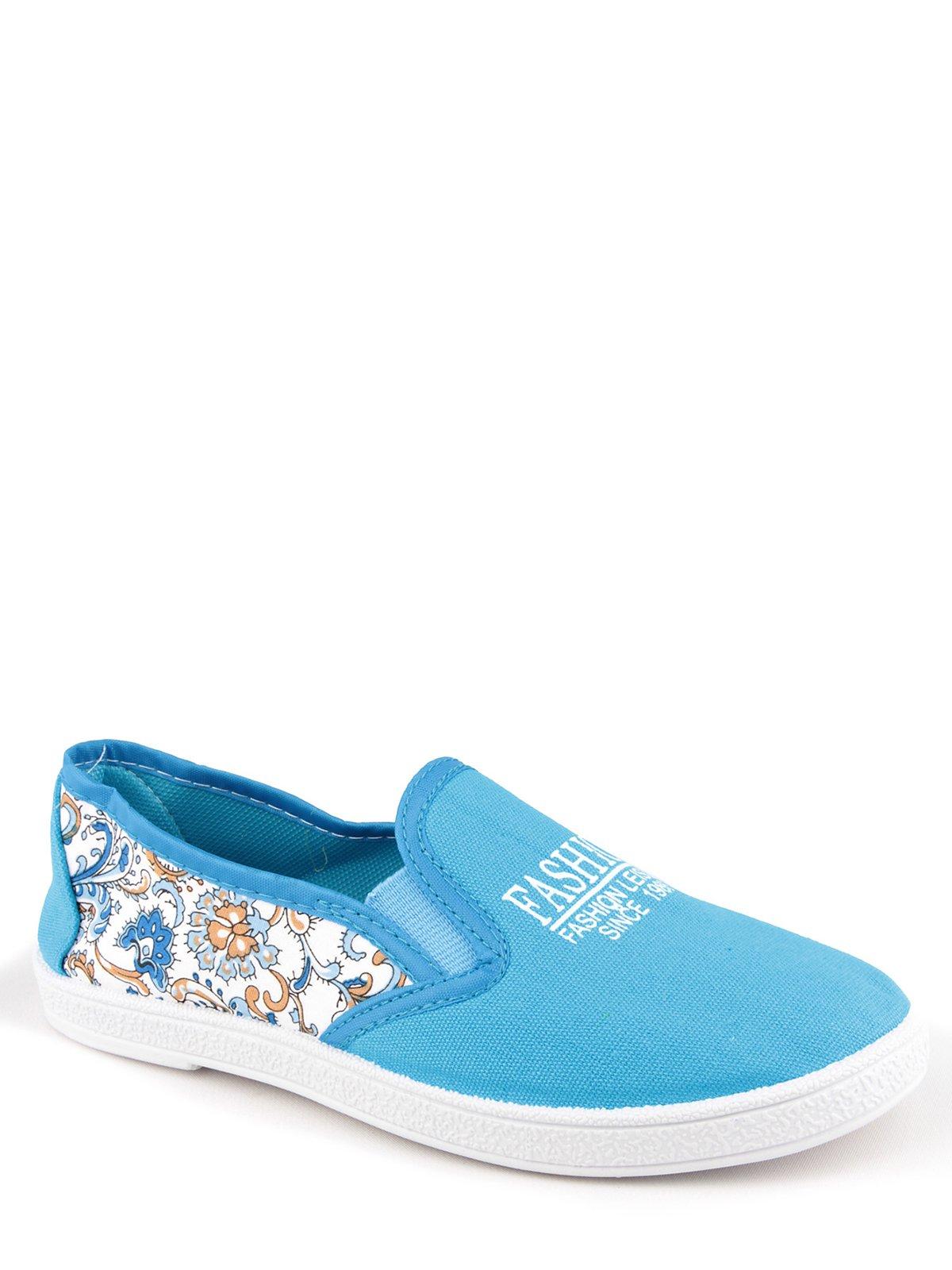 Слипоны голубые с цветочным принтом | 3170908