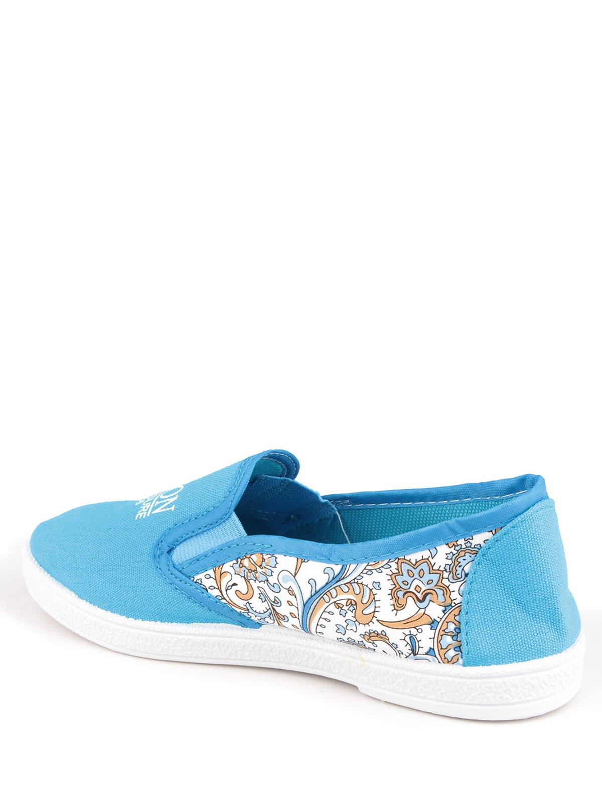 Слипоны голубые с цветочным принтом | 3170908 | фото 3