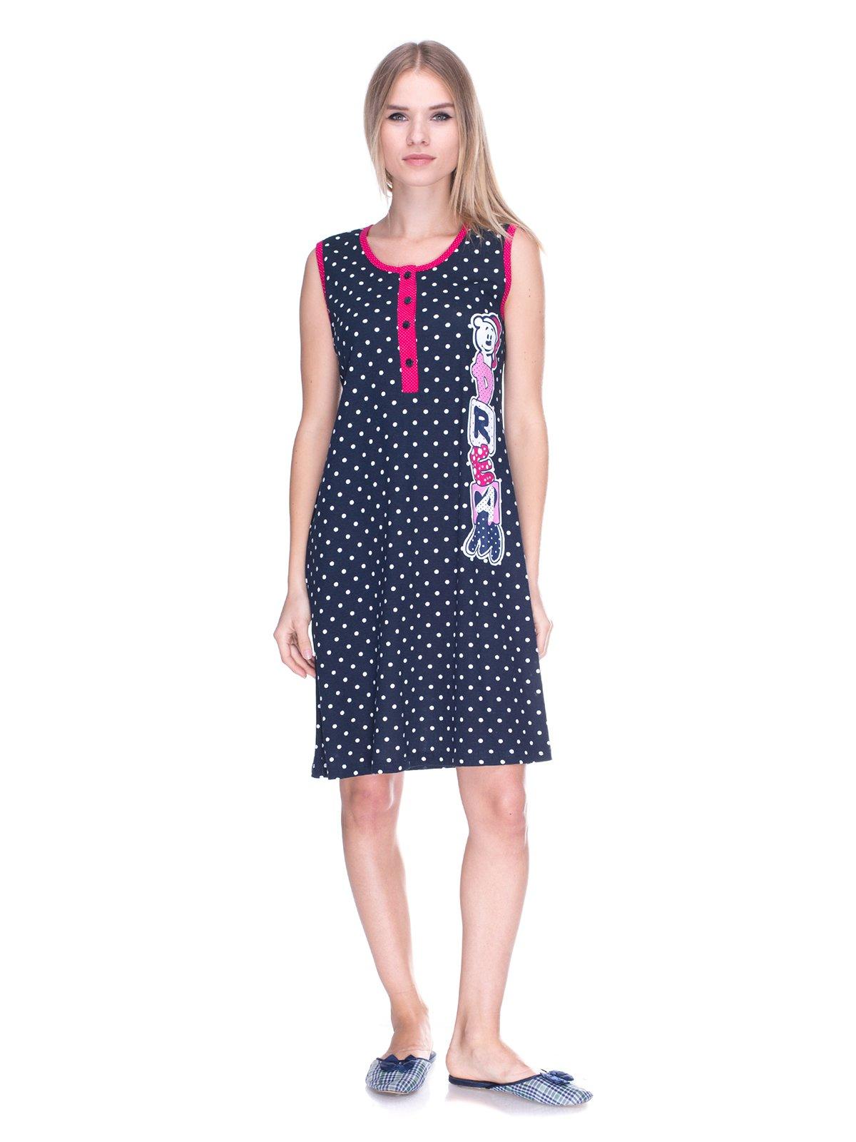 Платье темно-синее в горох с принтом | 3639350