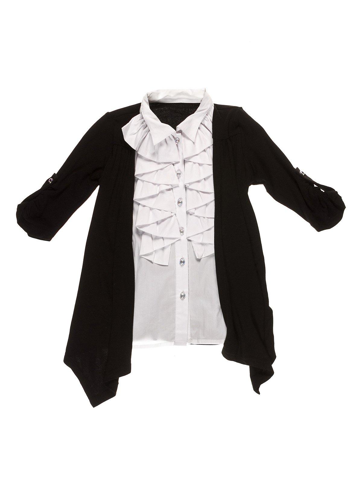 Блуза біла комбінована з чорним кардиганом | 1231914