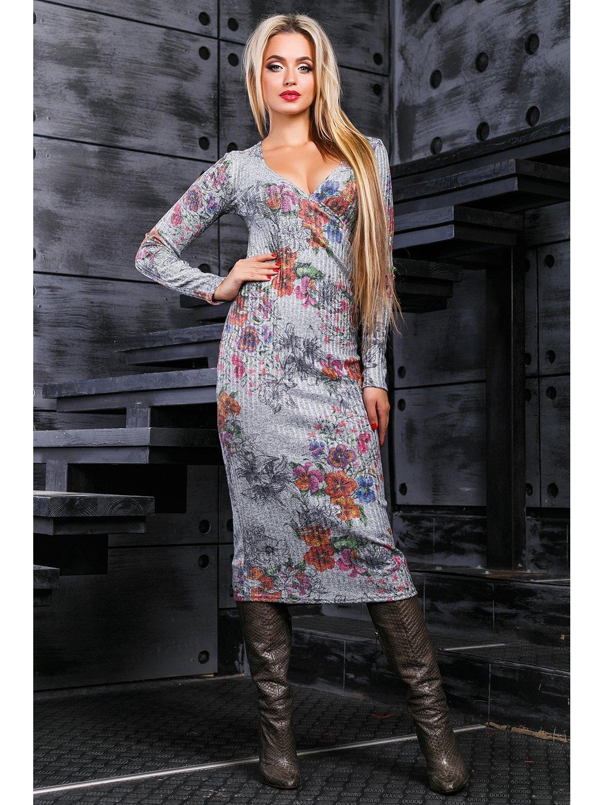 Платье серое в принт | 3664328