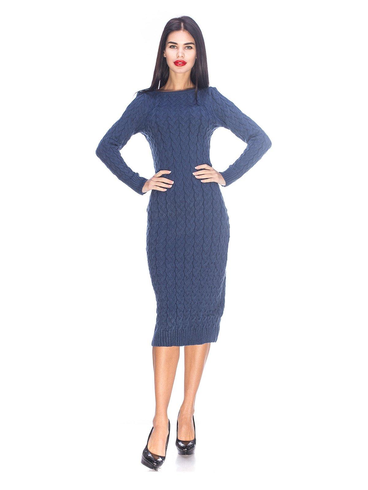 Сукня синього кольору в'язана | 3656991