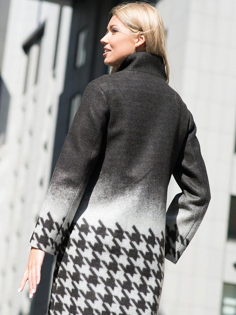Пальто серое в гусиную лапку | 3552108 | фото 2