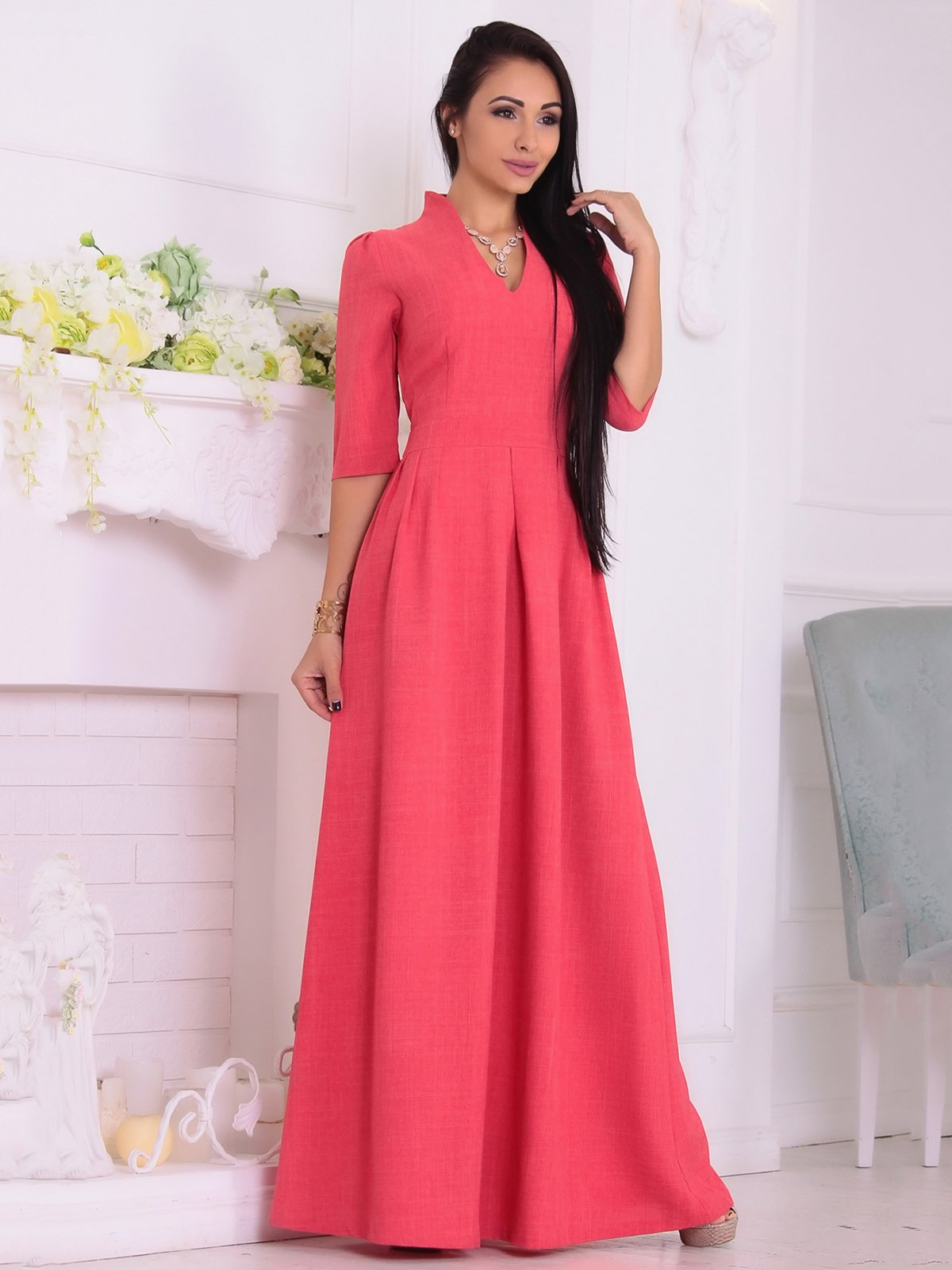 Сукня кольору червоний корал | 3692751