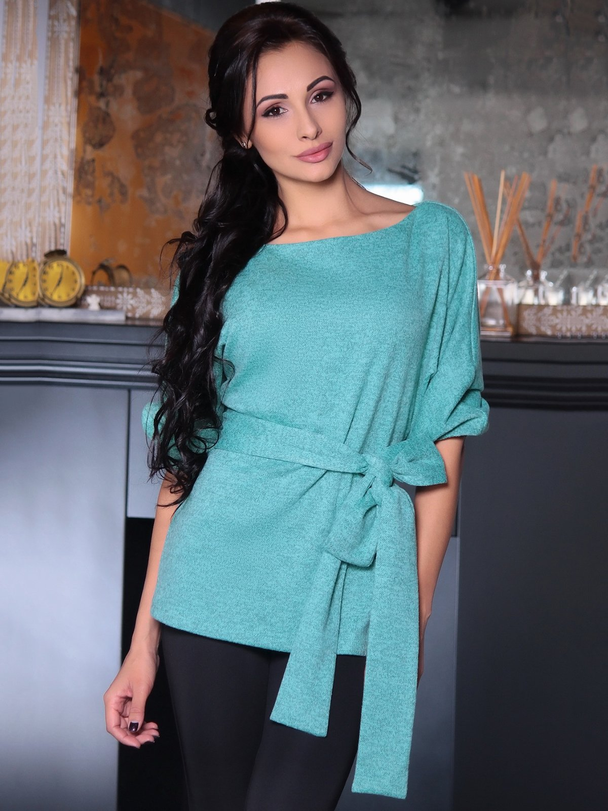Блуза м'ятного кольору | 3692764