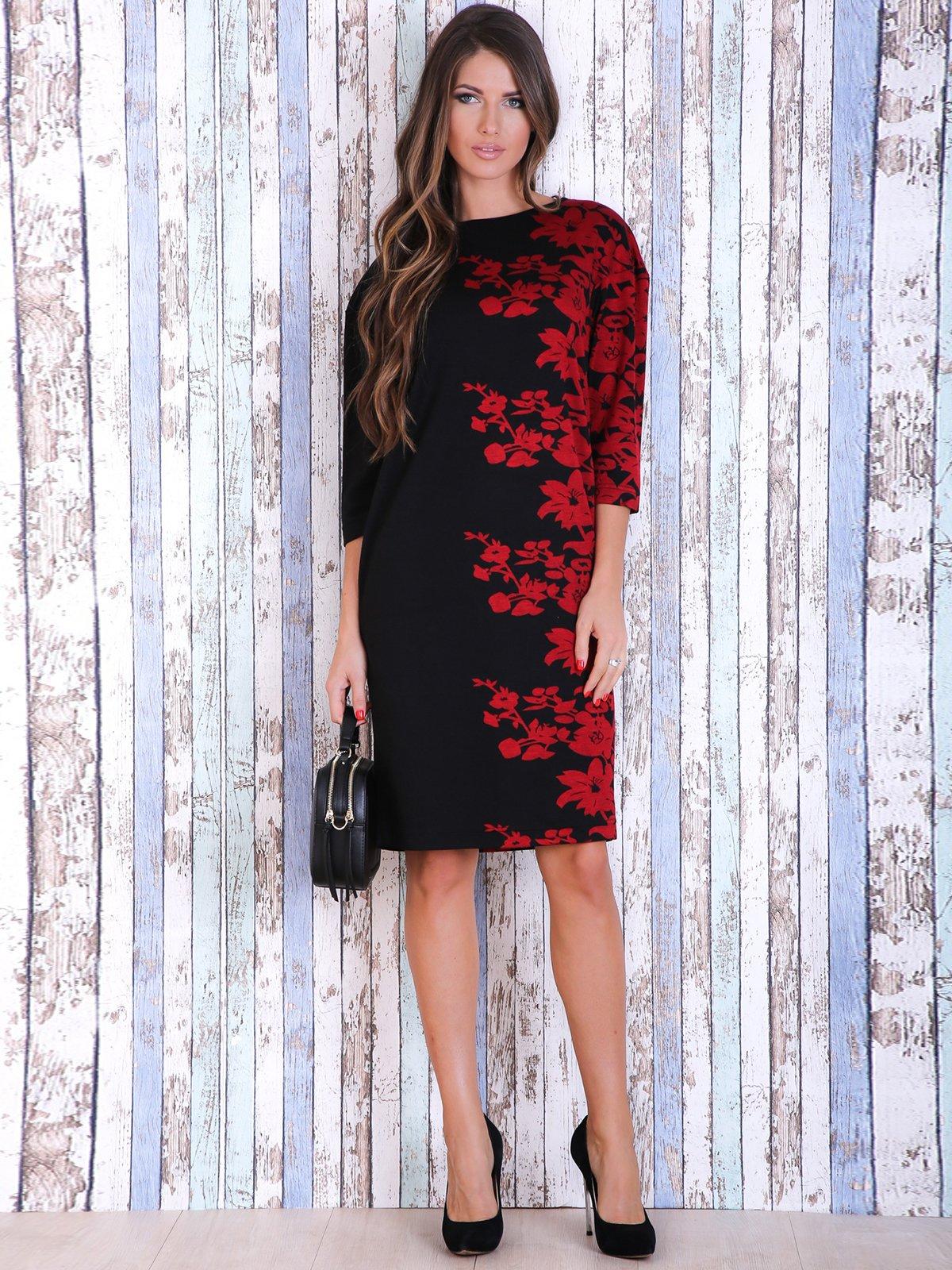 Сукня чорна з квітковим принтом | 3705647