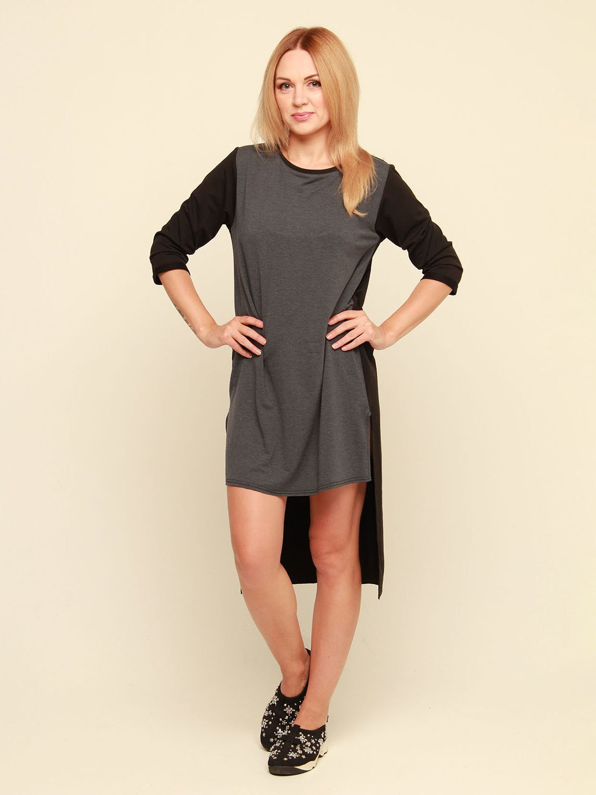 Платье серо-черное | 3710820