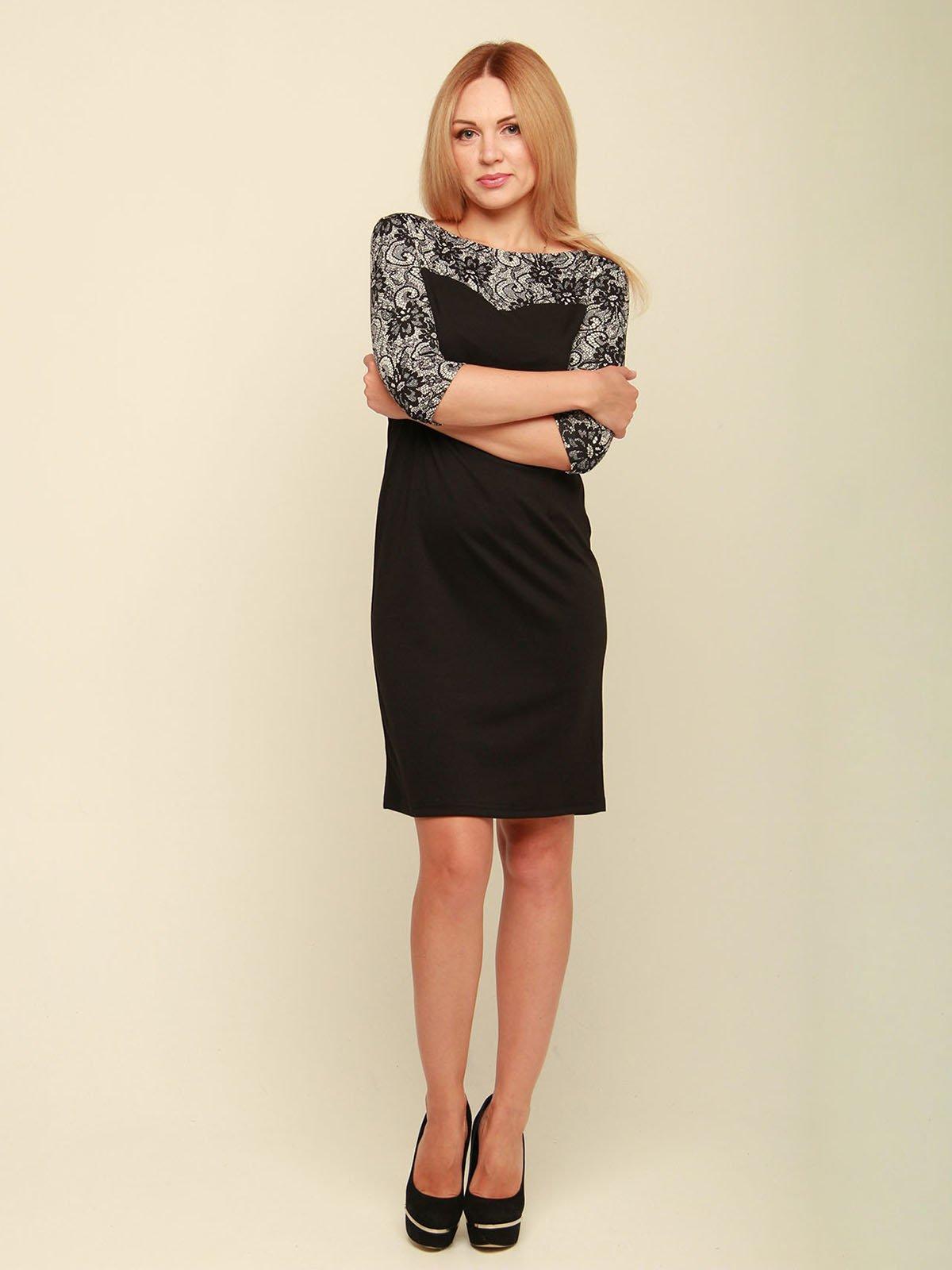 Сукня чорна з принтом | 3710839 | фото 2