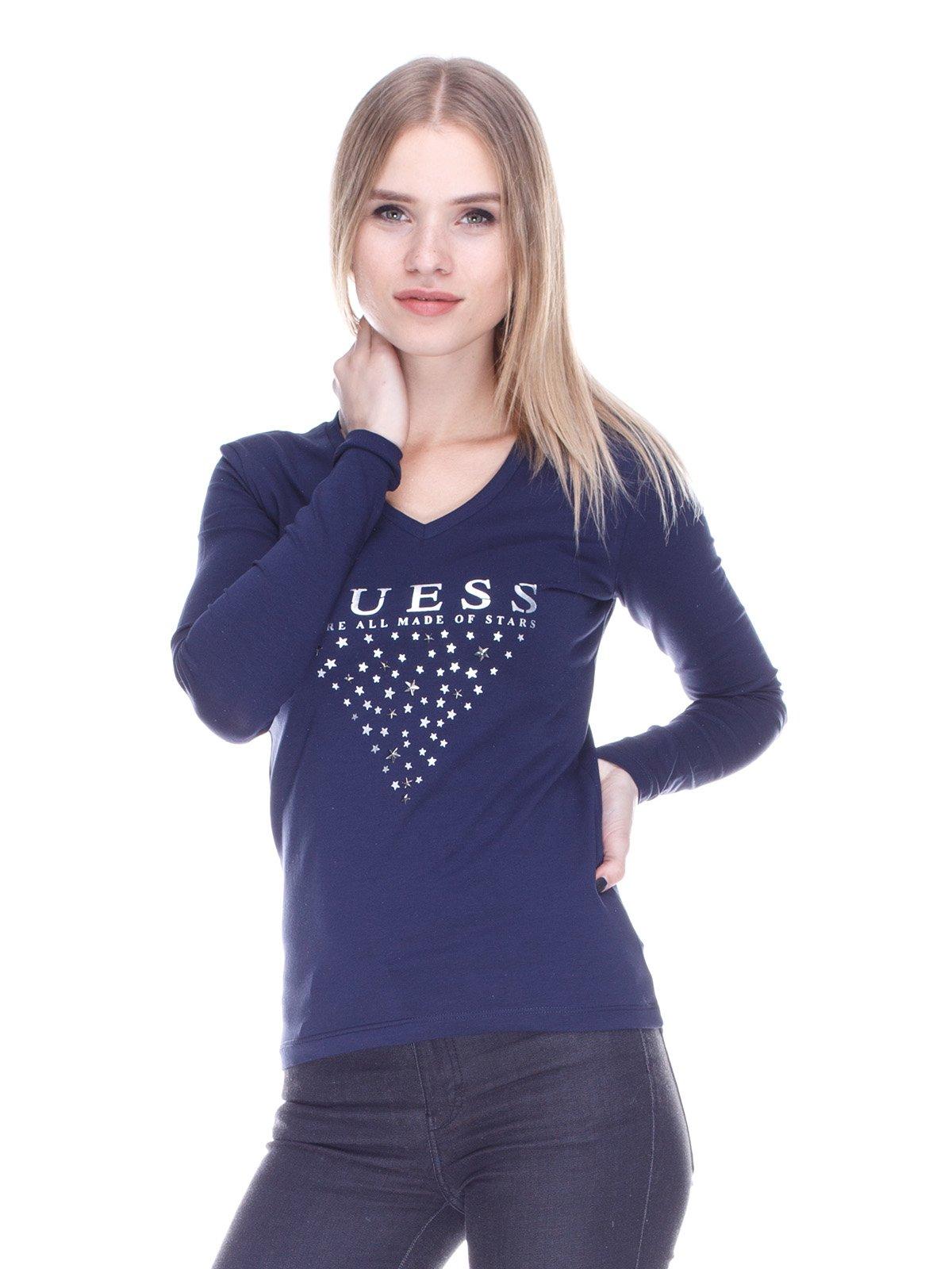 Пуловер синій в принт | 3718077