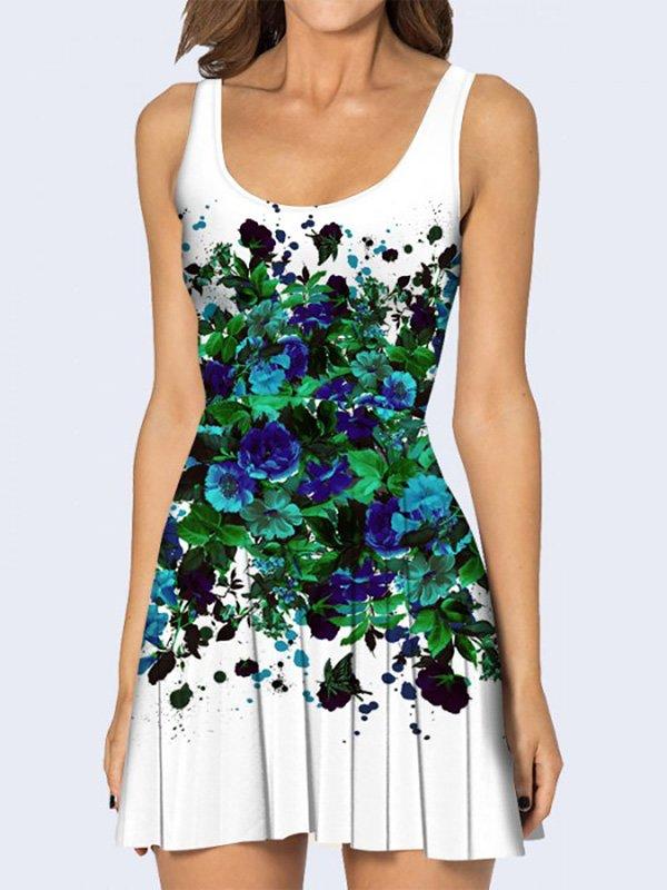 Платье белое с цветочным принтом | 3736932