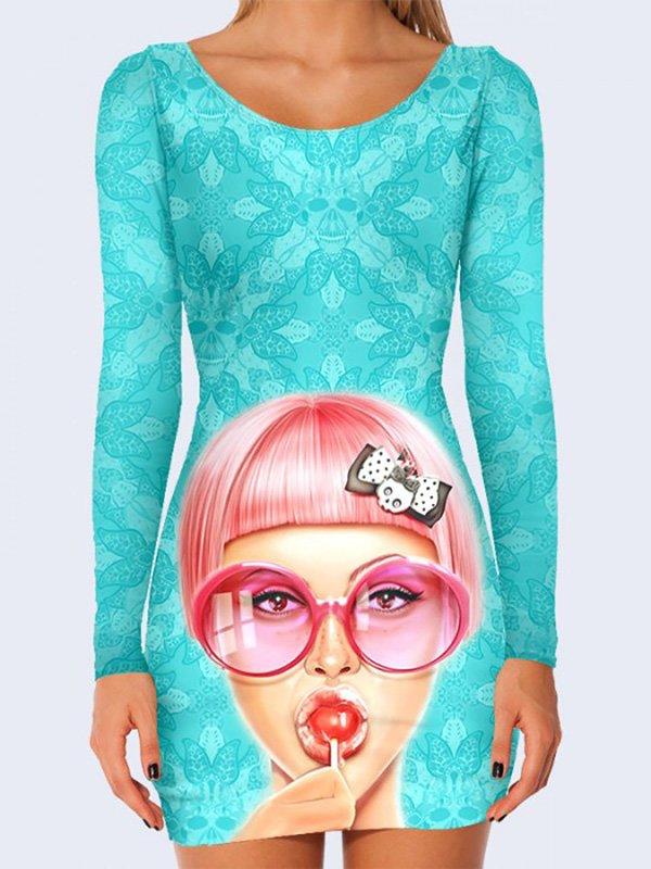 Платье голубое с принтом | 3736978