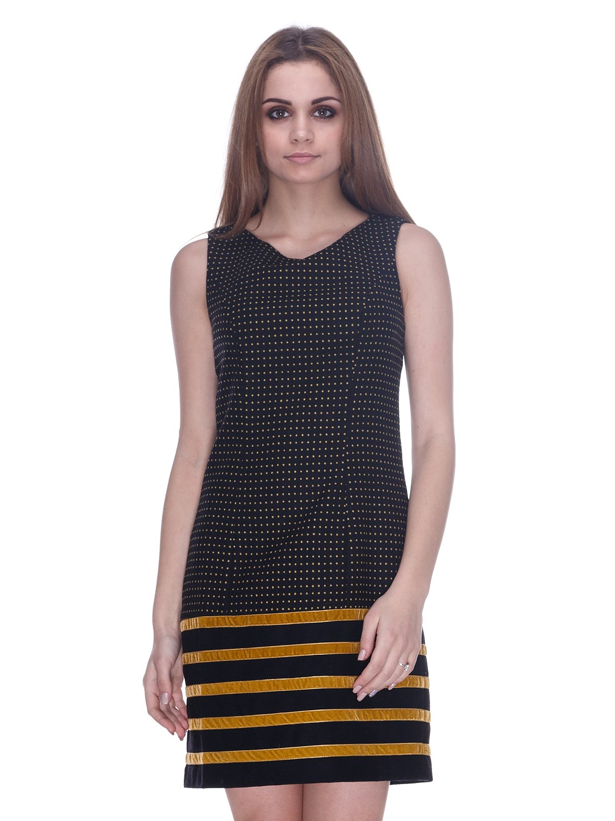 Платье черное в горох и с желтыми полосками   3746224