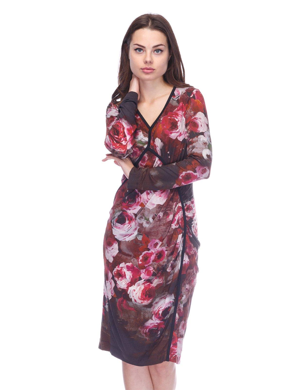 Сукня бордова в квітковий принт | 3752070