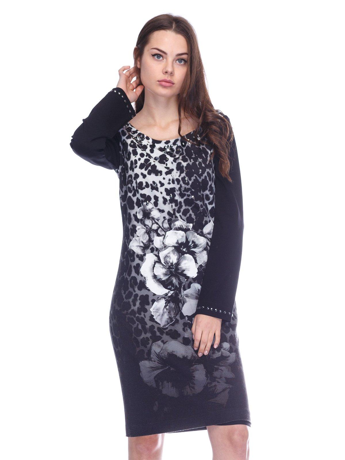 Платье черное в цветочный принт | 3752064