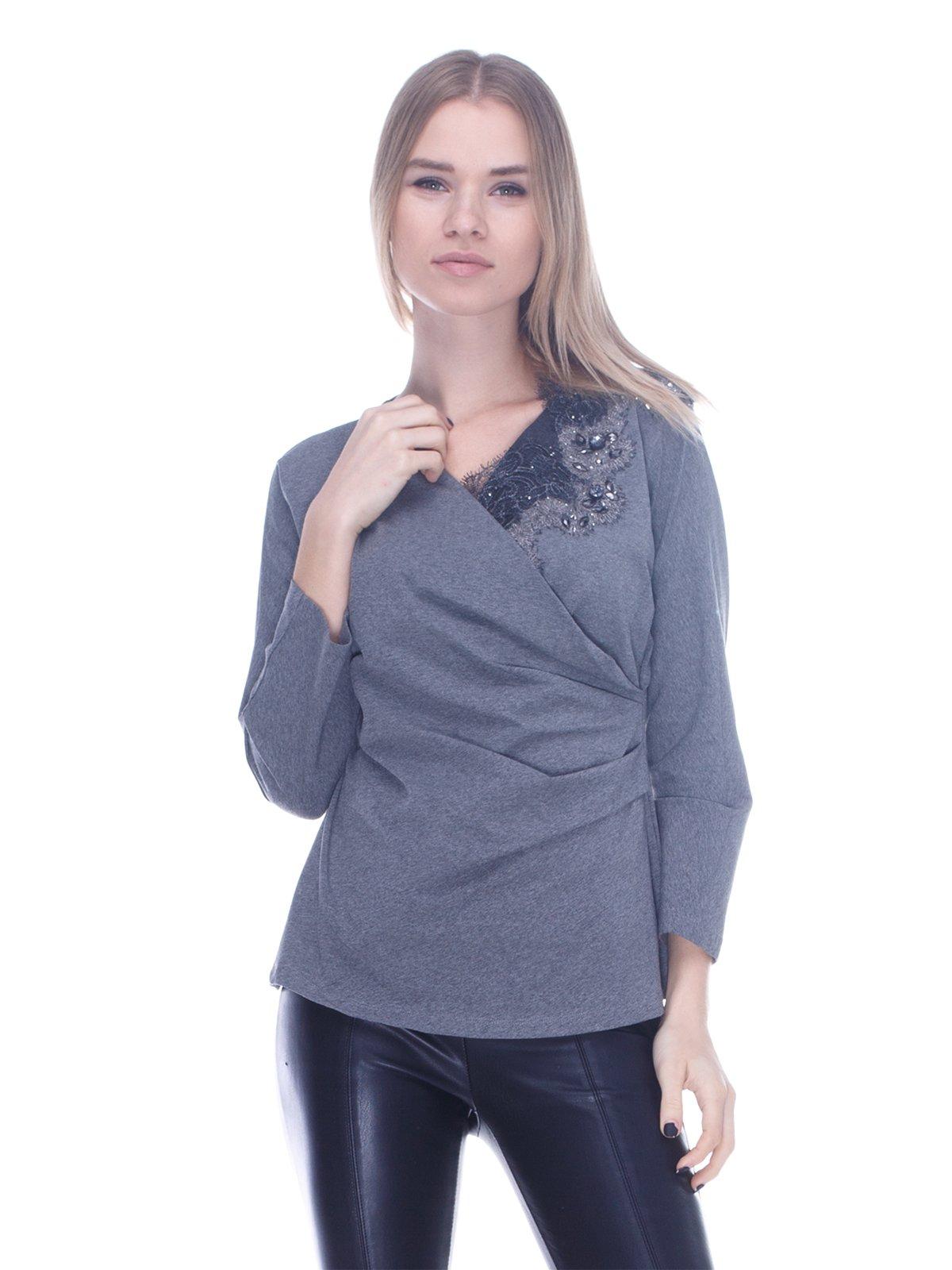 Блуза сіра з декором | 3752025