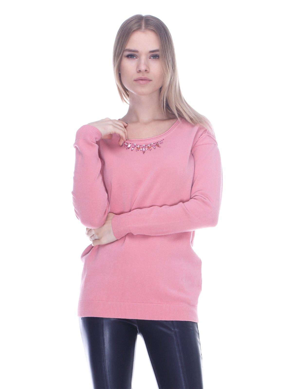 Джемпер розовый с декором | 3752012