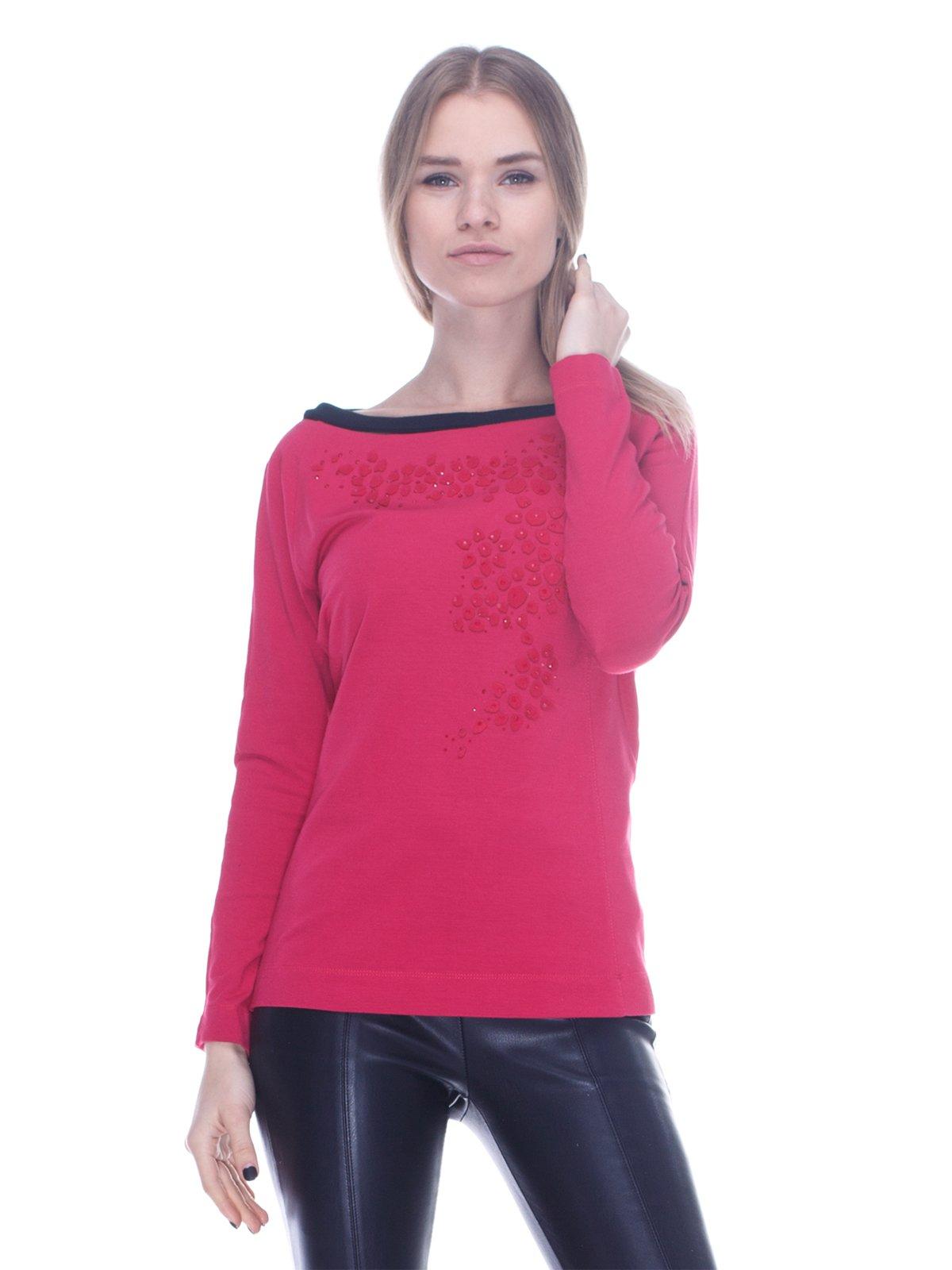 Джемпер кольору фуксії з декором | 3752009