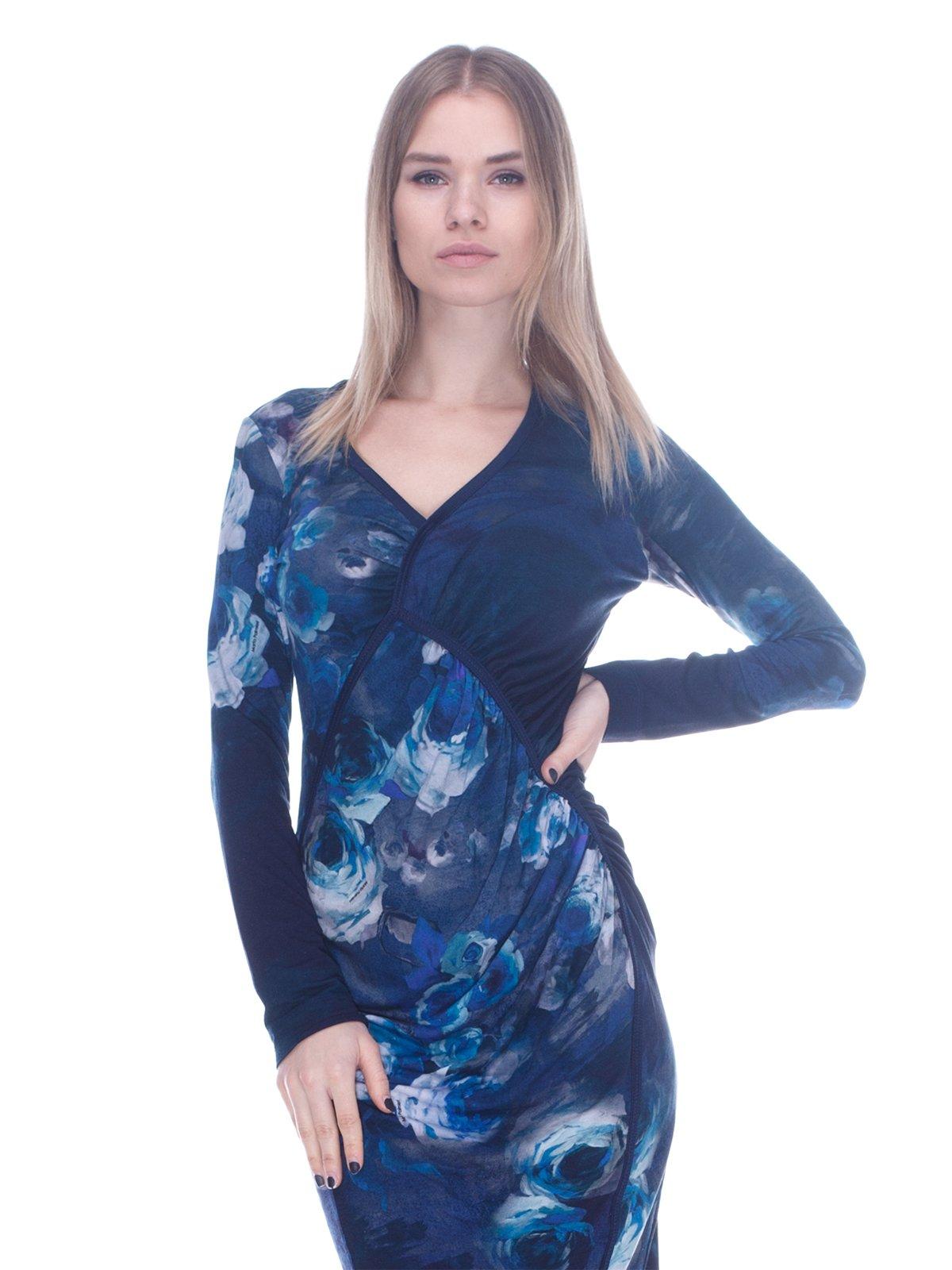 Платье сине-голубое в цветочный принт | 3752088