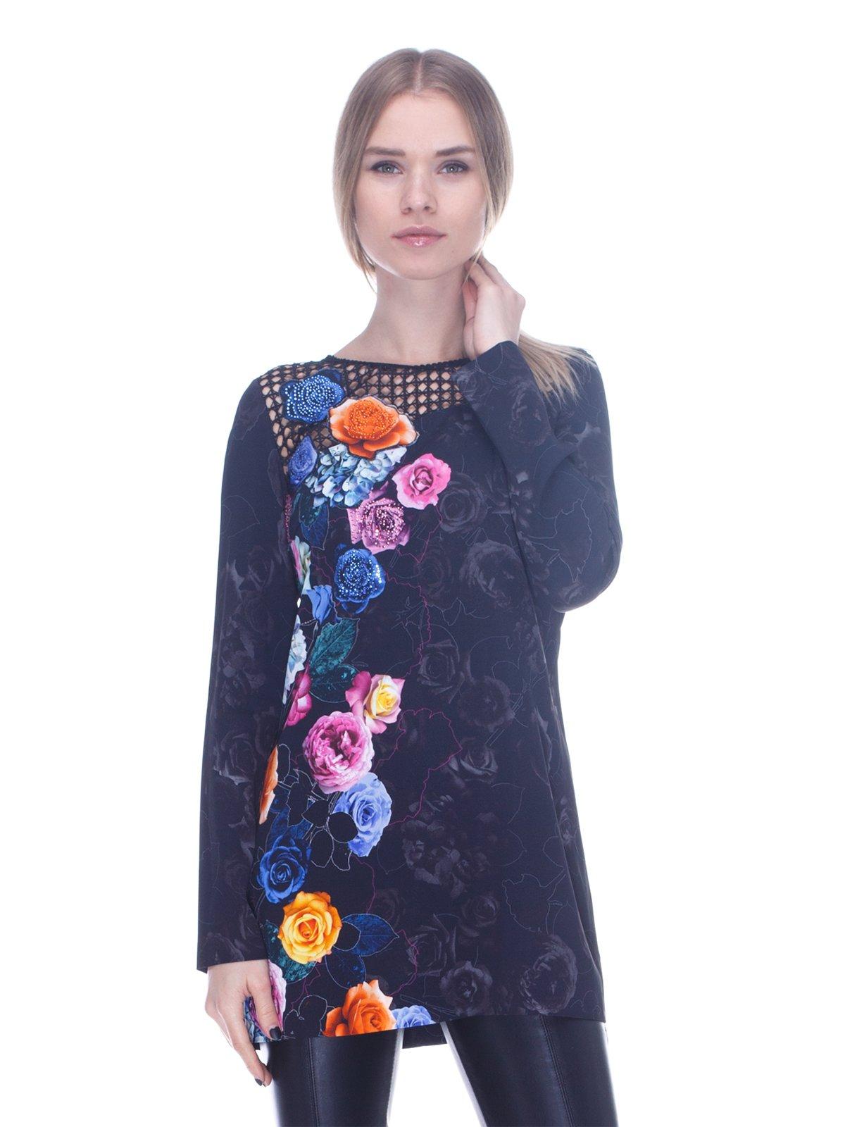Туніка чорна в квітковий принт   3752020
