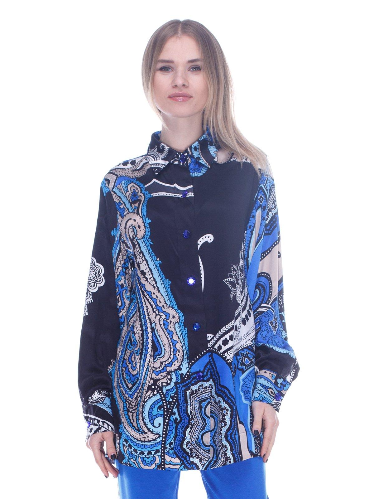 Рубашка синяя в принт | 3752022