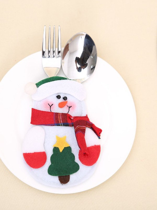 Новорічна прикраса для столових приладів «Сніговик» | 3765736