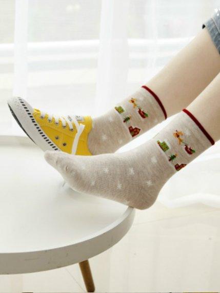 Носки бежевые с рисунком подростковые | 3769055