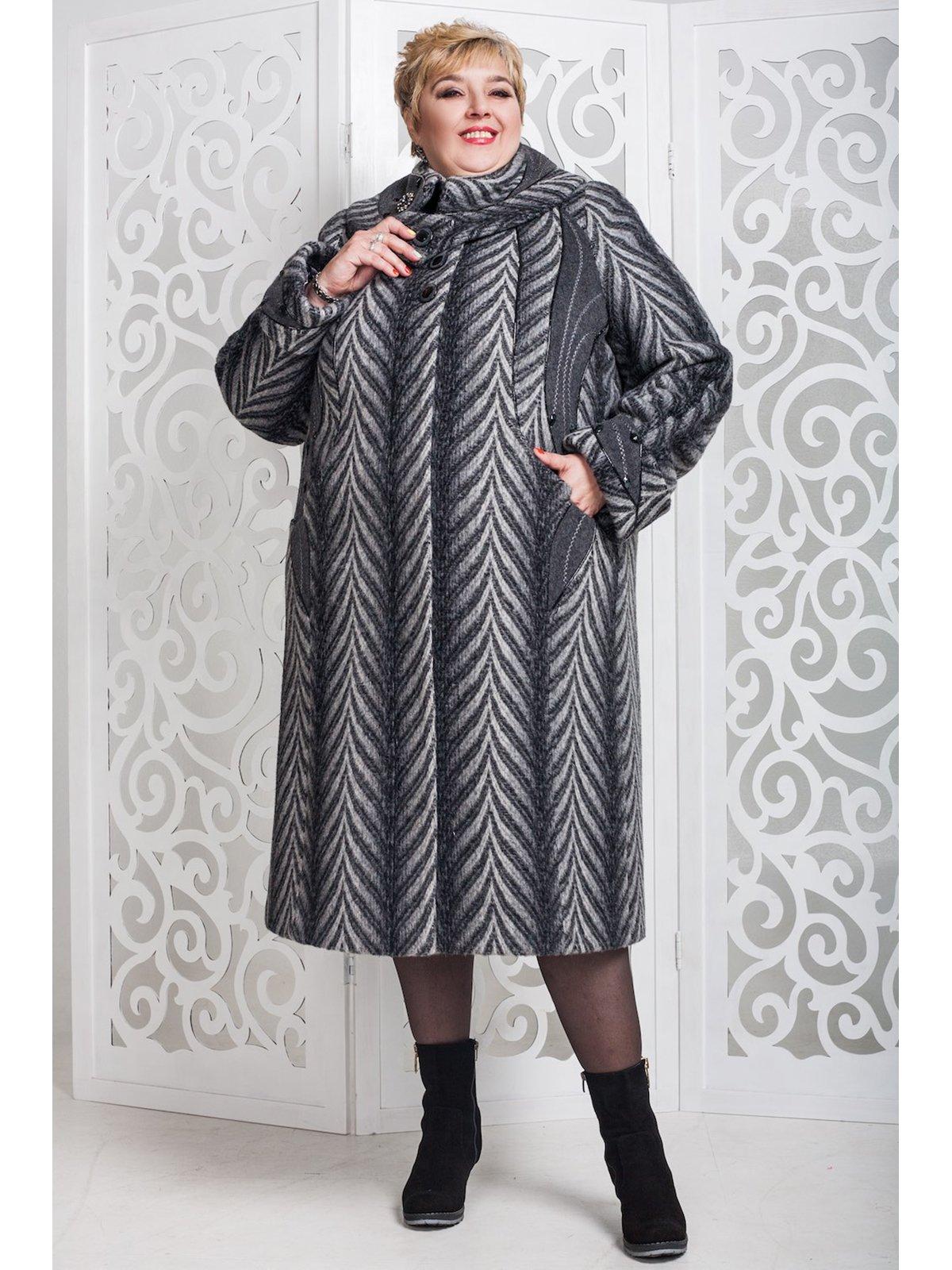 Пальто темно-сіре в малюнок   3774460