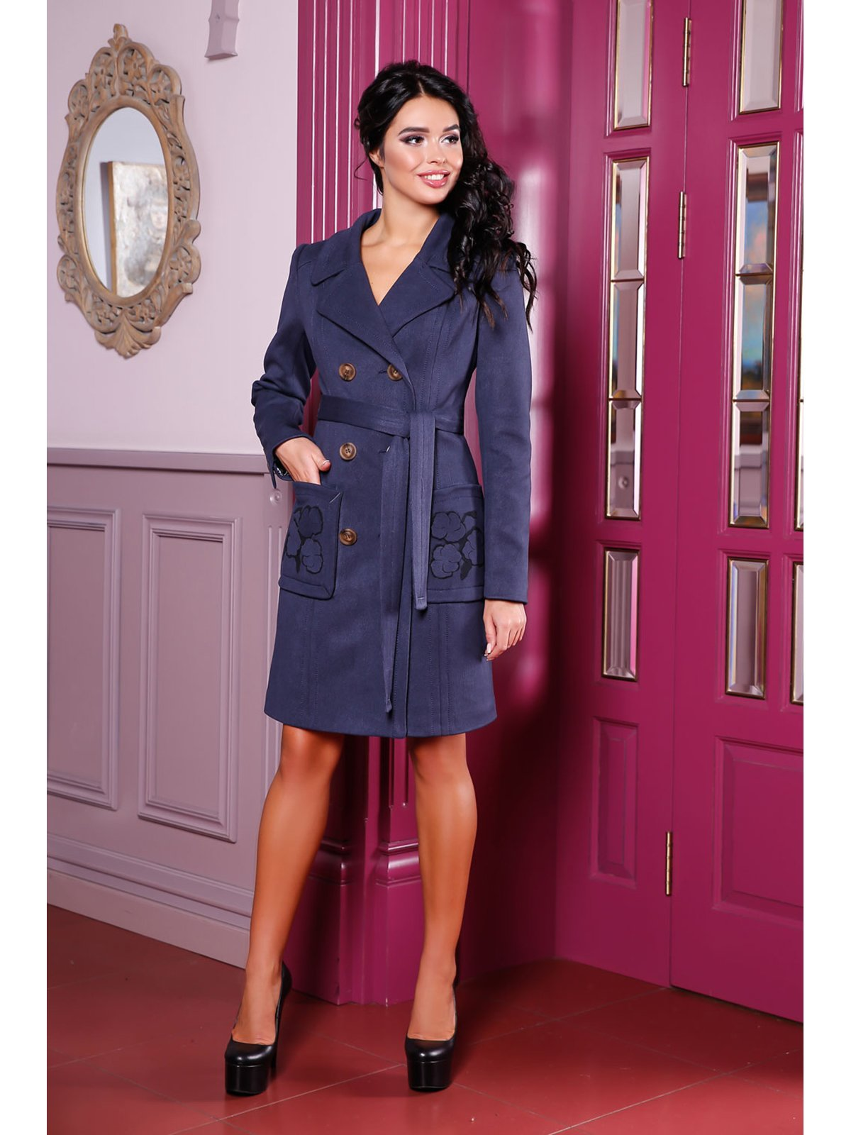 Пальто темно-синее | 3774670