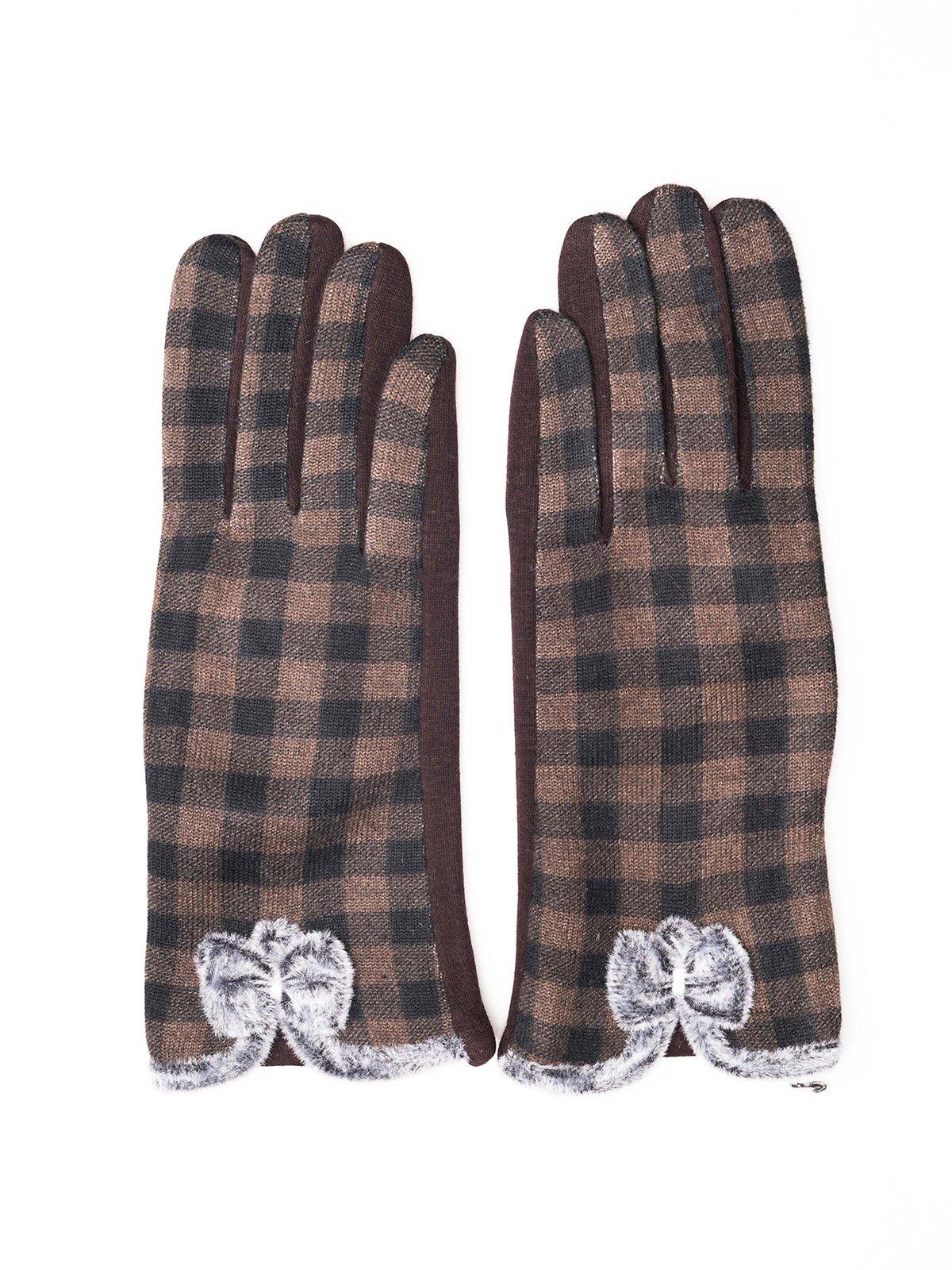 Перчатки темно-коричневые в клетку | 3777896